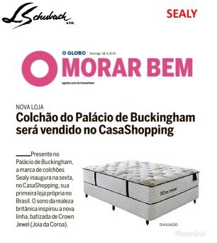 SEALY no caderno MORAR BEM, do jornal O GLOBO, em 28 de abril de 2019