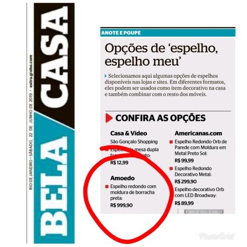 AMOEDO no caderno BELA CASA do jornal EXTRA do dia 22 de junho de 2019