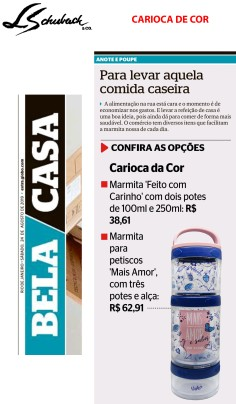 CARIOCA DE COR no caderno Bela Casa, do jornal Extra, em 24 de agosto de 2019