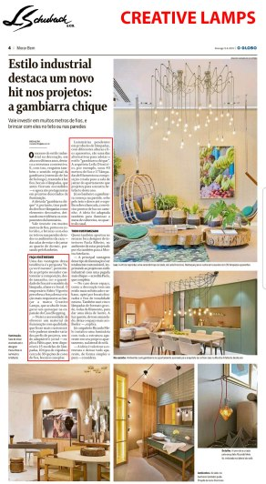 CREATIVE LAMPS no caderno MORAR BEM do Jornal O Globo, em 09 de junho de 2019