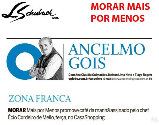 MORAR MAIS POR MENOS na Coluna Ancelmo Góis, do jornal O GLOBO, em 8 de junho de 2019