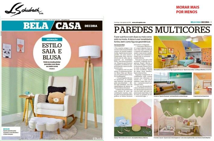 MORAR MAIS POR MENOS no caderno BELA CASA, do jornal EXTRA, de 4 de agosto de 2019