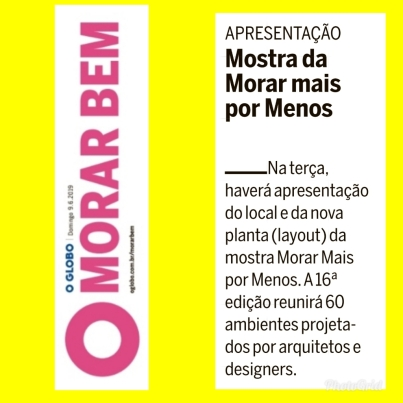 MORAR MAIS POR MENOS no caderno MORAR BEM do jornal O GLOBO do dia 9 de junho de 2019
