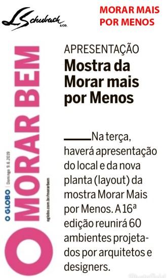 MORAR MAIS POR MENOS no caderno MORAR BEM, do jornal O GLOBO, em 9 de junho de 2019