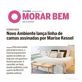 NOVO AMBIENTE no caderno Morar Bem, do jornal O Globo, em 25 de agosto de 2019