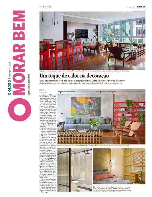 Studio MH Arquitetura no MORAR BEM do jornal O GLOBO de 7 de julho de 2019