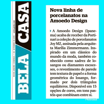 AMOEDO DESIGN no caderno BELA CASA em 1 de setembro de 2019