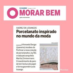 AMOEDO DESIGN no caderno MORAR BEM do jornal O GLOBO de 1 de setembro de 2019