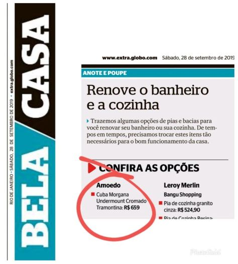 AMOEDO no caderno BELA CASA do jornal EXTRA em 29 de setembro de 2019