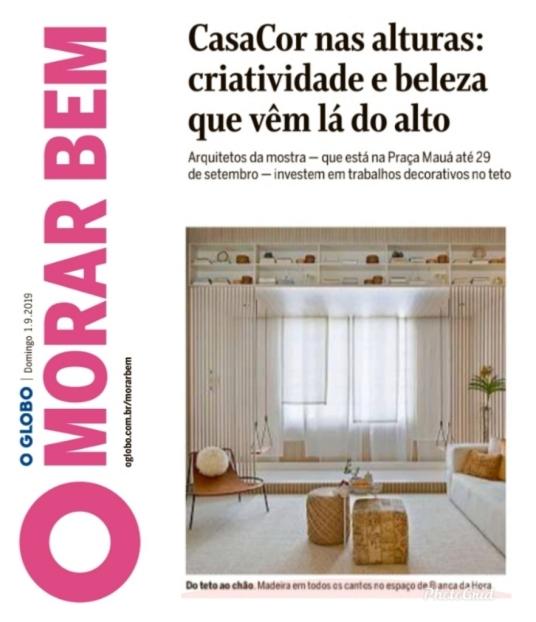 BIANCA DA HORA no caderno MORAR BEM do jornal O GLOBO de 1 de setembro de 2019