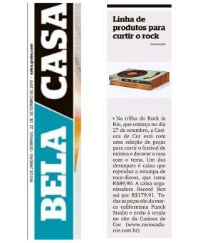 CARIOCA DECOR no caderno BELA CAS do jornal EXTRA em 22 de setembro de 2019