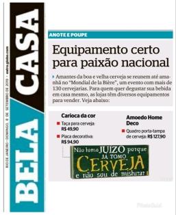 CARIOCA DECOR no caderno BELA CAS do jornal EXTRA em 8 de setembro de 2019