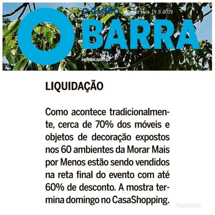 MORAR MAIS POR MENOS no caderno BARRA do jornal OGLOBO em 18 de setembro de 2019