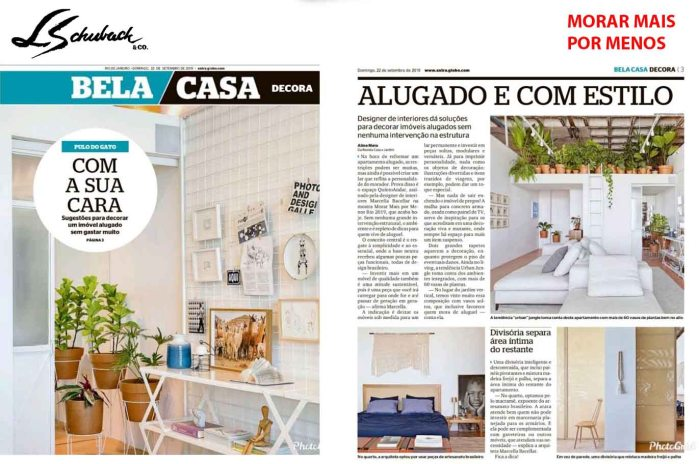 MORAR MAIS POR MENOS no caderno BELA CASA do jornal EXTRA em 22 de setembro de 2019