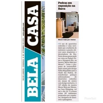 MORAR MAIS POR MENOS no caderno BELA CASA do jornal EXTRA em 8 de setembro de 2019