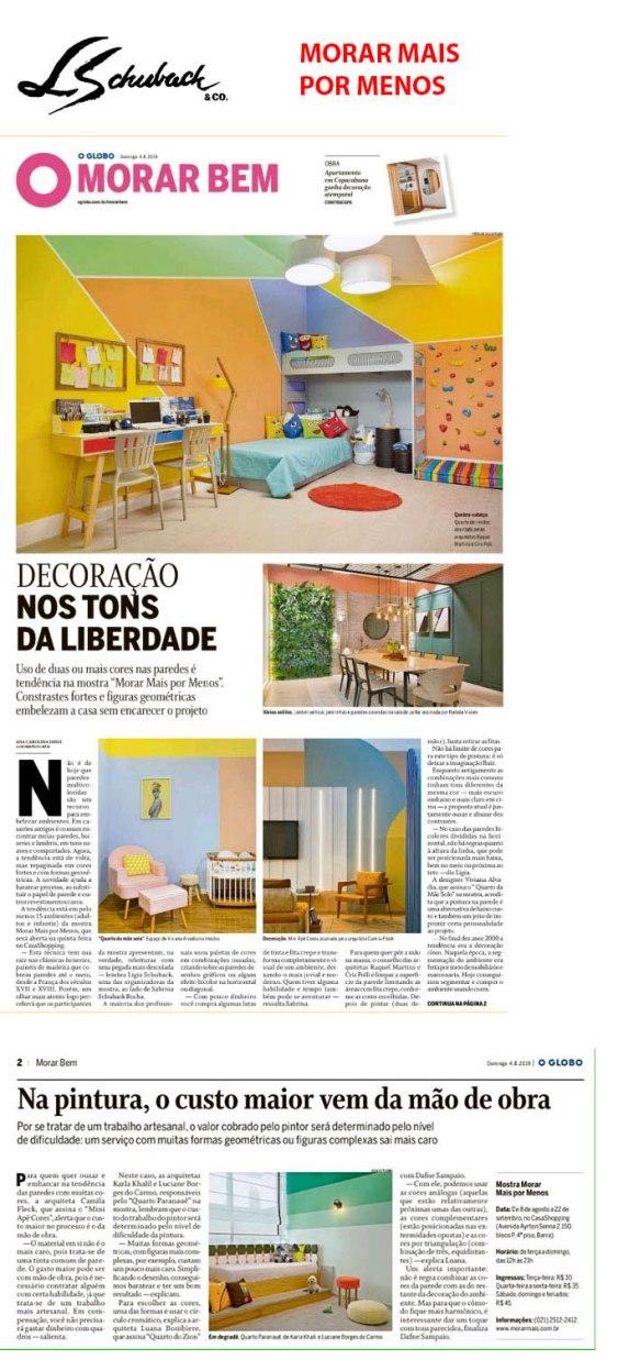 MORAR MAIS POR MENOS no caderno Morar Bem, do jornal O GLOBO, de 4 de agosto de 2019