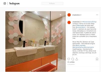 MORAR MAIS POR MENOS no instagram SIMPLESDECOR em 21 de agosto de 2019