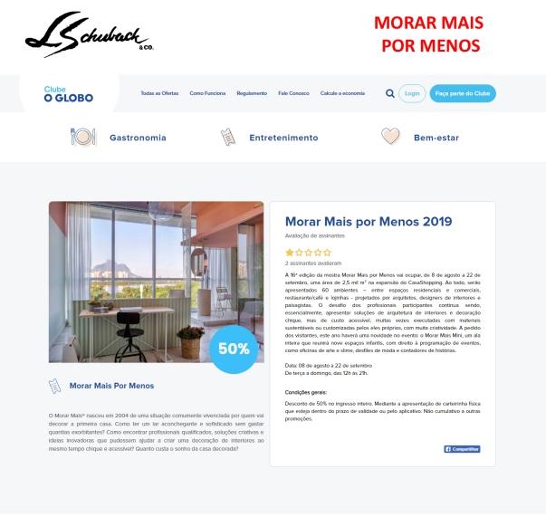 MORAR MAIS POR MENOS no site Clube O Globo, em 06 de agosto de 2019