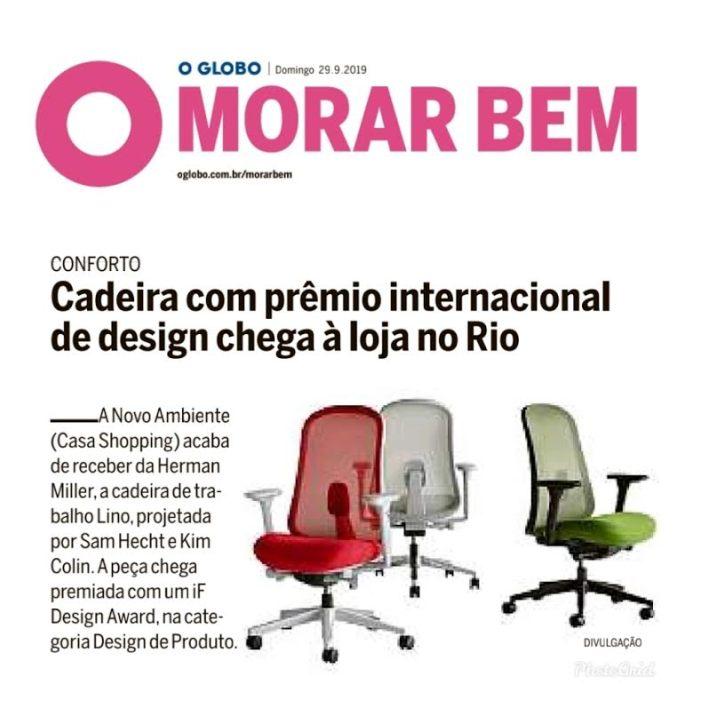 NOVO AMBIENTE no caderno MORAR BEM do jornal OGLOBO em 29 de setembro de 2019