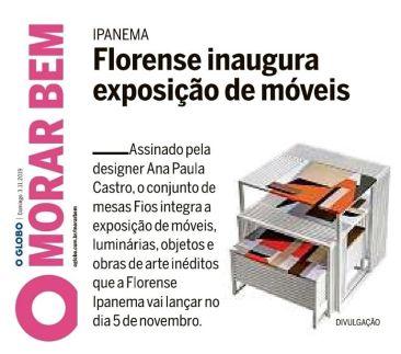 FLORENSE no caderno MORAR BEM do jornal OGLOBO em 31 de outubro de 2019