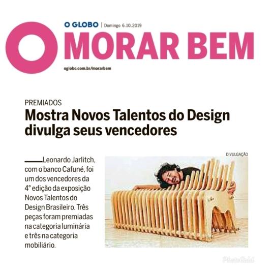 NOVOS TALENTOS no caderno MORAR BEM do jornal OGLOBO em 6 de outubro de 2019