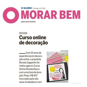 RENATA ZAPPELLINI no caderno MORAR BEM do jornal OGLOBO em 6 de outubro de 2019