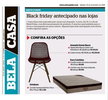 AMOEDO DECOR no caderno BELA CASA do jornal EXTRA em 16 de novembro de 2019