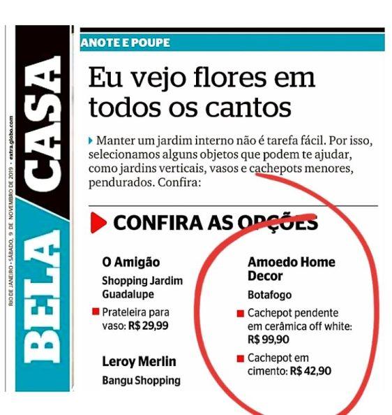 AMOEDO DECOR no caderno BELA CASA do jornal EXTRA em 9 de novembro de 2019