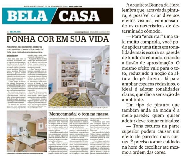 BIANCA DA HORA no caderno BELA CASA, do jornal EXTRA, em 30 de novembro de 2019