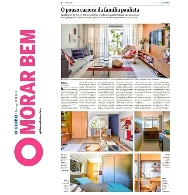 LUIZA BOTTINO E VALESKA ULM no caderno MORAR BEM do jornal OGLOBO em 17 de novembro de 2019