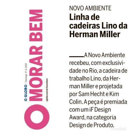 NOVO AMBIENTE no caderno MORAR BEM do jornal OGLOBO em 17 de novembro de 2019
