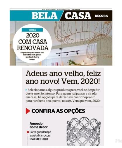 AMOEDO HOME DECOR no caderno Bela Casa, do jornal Extra, em 29 de novembro de 2019