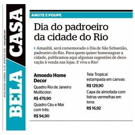 AMOEDO HOME DECOR no BELA CASA do jornal EXTRA publicado em 19 de janeiro de 2020