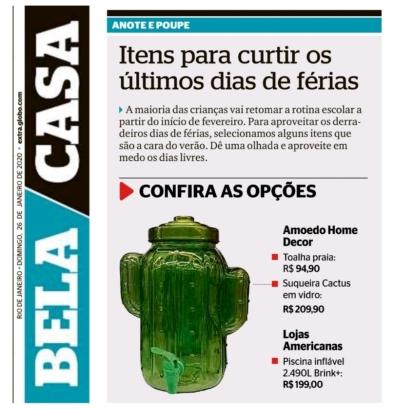 AMOEDO HOME DECOR no caderno BELA CASA do jornal EXTRA publicado em 26 de janeiro de 2020