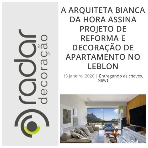 BIANCA DA HORA no site RADAR DECORAÇÃO publicado em 13 de janeiro de 2020