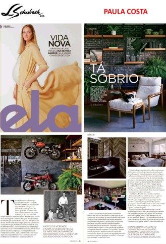 PAULA COSTA na revista ELA, do jornal O GLOBO, de 5 de janeiro de 2020